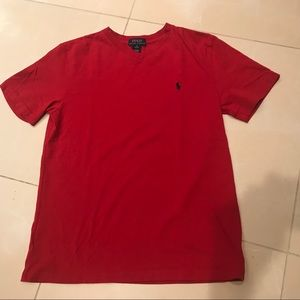 Polo/Ralph Lauren V Neck Boy's Red Tee 10/12 (M)